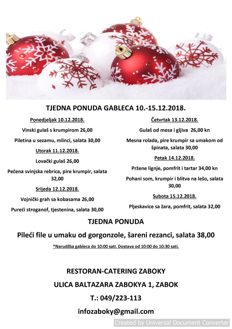 TJEDNA PONUDA GABLECA 10.-15.12.2018.